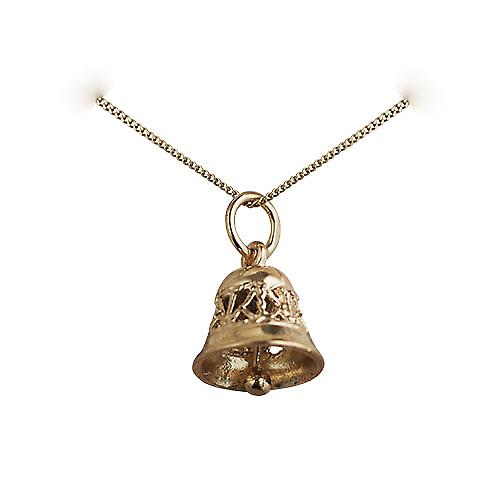 9ct Gold 10x11mm Ringing Bell Pendant with a curb chain
