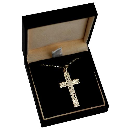 9ct Gold 34x19mm hand engraved flat latin Cross with belcher Chain 16 inches Only Suitable for Children