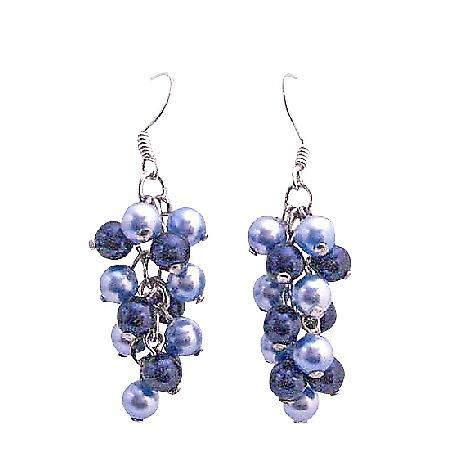 Swarovski Aquamarine Pearls Dark Blue Pearls Earrings Jewelry