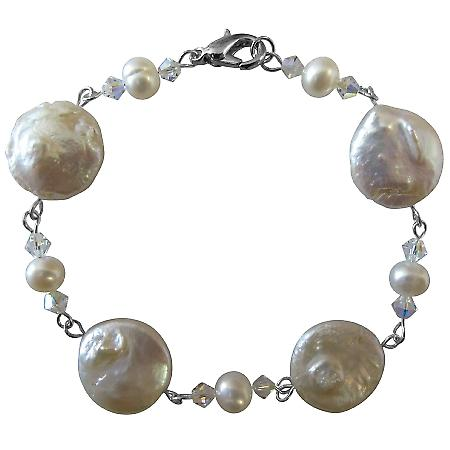 Freshwater Pearls Prom Bracelet Coin Freshwater 12mm & White Pearls