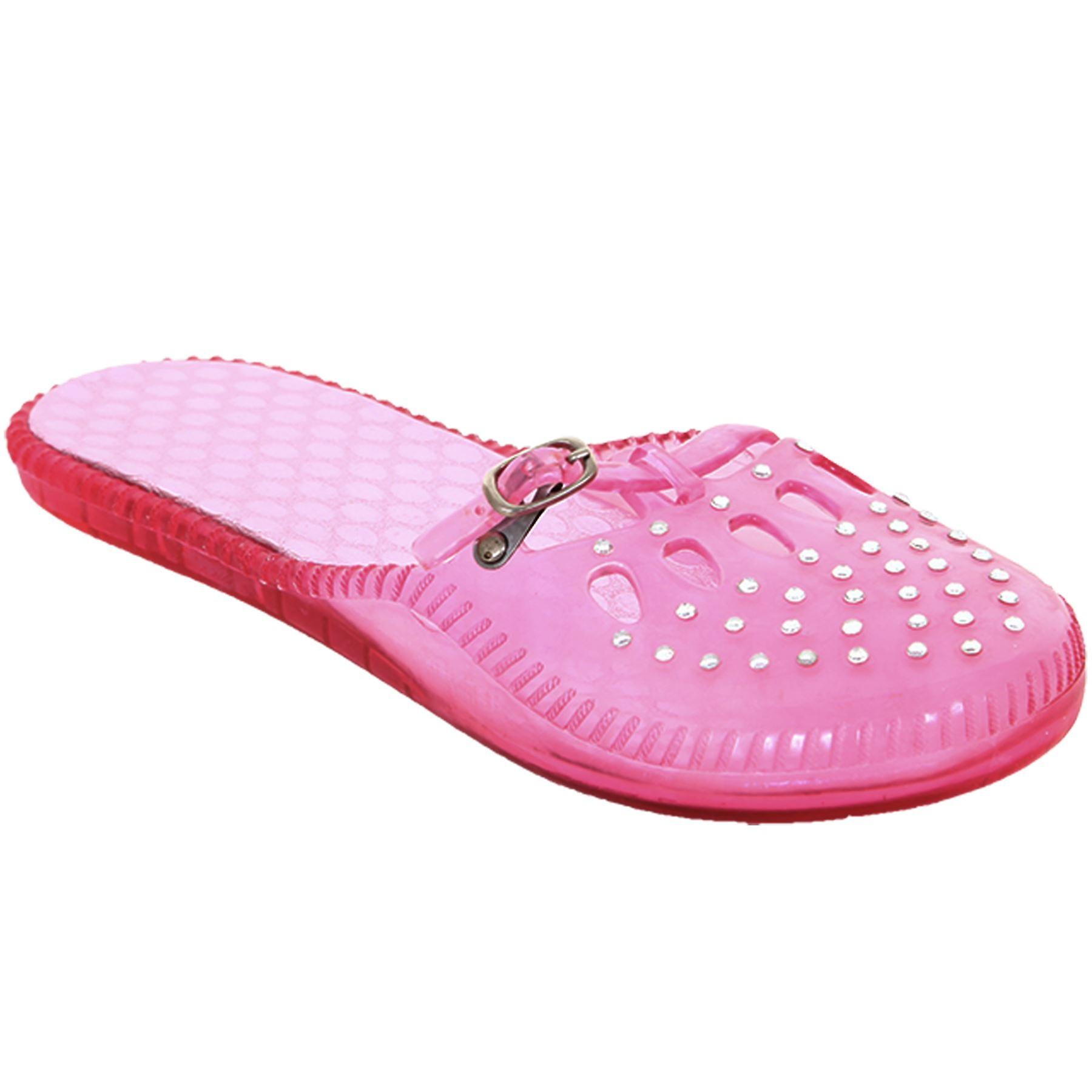 Ladies Silver Diamante Cut Out Slip On Jelly Women's White Pink Flats Shoes