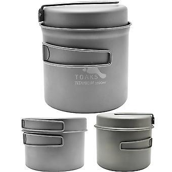 يعالج تواكس التيتانيوم في الهواء الطلق التخييم كوك وعاء مع عموم وقابلة للطي