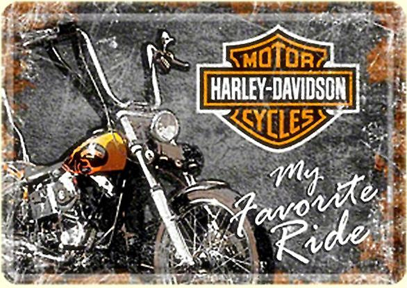 Harley Davidson My Favourite Ride metal postcard / mini-sign     (na)