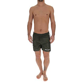 Palm Angels Green Polyester Trunks