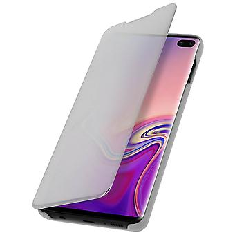 Flip Case, Mirror Case for Samsung Galaxy S10 Plus, Standing Cover - Silver
