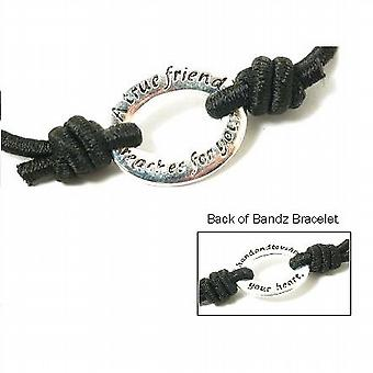 TOC Bandz A True Friend Reaches For Your Hand 6 Inch Black Love Stretch Bracelet