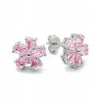 Jsuk Sterling Silver Pink Cz Flower Stud Earrings