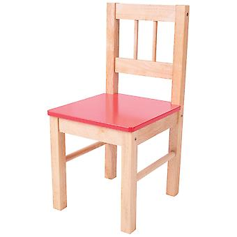 Bigjigs Toys Children's Wooden Red Chair Bedroom Furniture Nursery Accessories