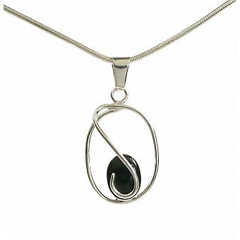 "Cavendish French Sterling Silver Caged Black Agate Pendant with 16 - 18"" Silver Chain"