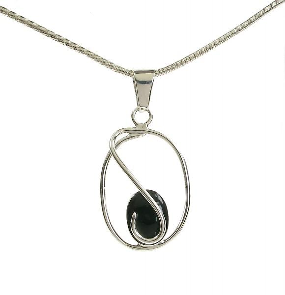 Cavendish French Sterling Silver Caged Black Agate Pendant without Chain