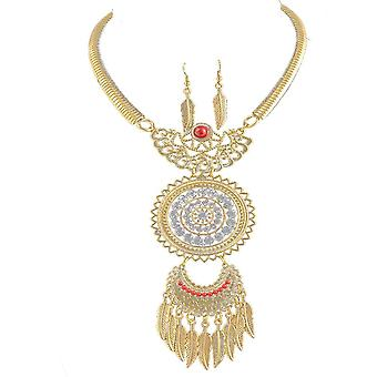 Ladies colourful dream catcher style jewel & earring set swarovski crystal necklace
