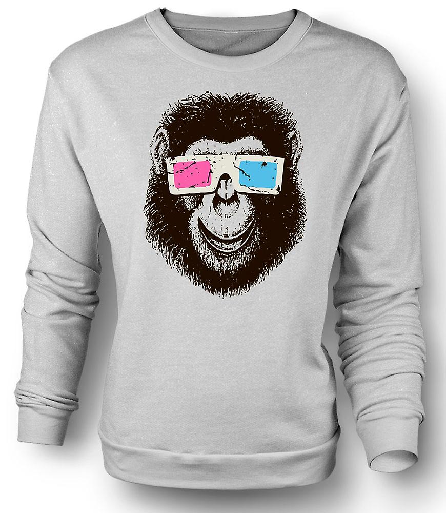 Mens Sweatshirt Monkey Ape 3D Glasses - Cool Graphic Design
