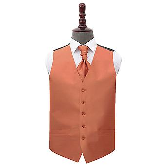 Copper Shantung Wedding Waistcoat & Cravat Set