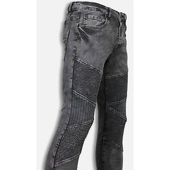 Exclusieve Biker Jeans - Slim Fit Denim Ribbed Knee - Grijs