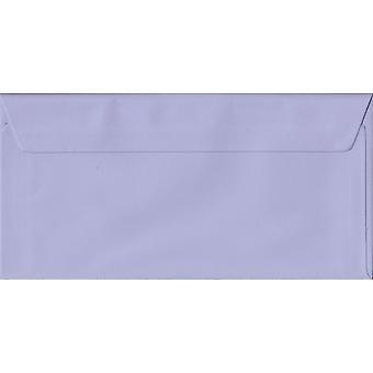 Lilac Peel/Seal DL Coloured Purple Envelopes. 100gsm FSC Sustainable Paper. 110mm x 220mm. Wallet Style Envelope.