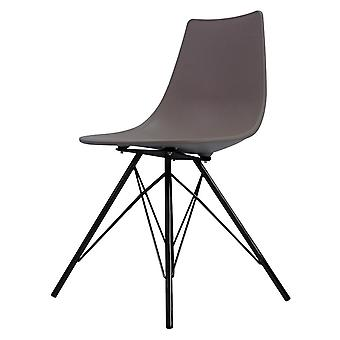 Fusion Living Iconic Slate Plastic Dining Chair With Black Metal Legs