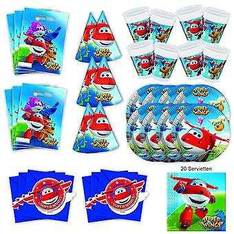 Superwings Party Set XL 61-piece for 6 guests Super Wings Party Birthday Decoration Party Package
