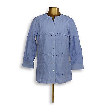 Denim & Co. Women's Top Eyelet Button Front Shirt & Tank Blue A351579