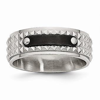 Stainless Steel Brushed and Polished Black Ip-plated Faceted Ring - Ring Size: 8 to 13