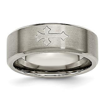 Titan gebürstet Schlossdrücker 8mm Satin mit Inlay Kreuz Band Ring - Ring-Größe: 8 bis 10,5