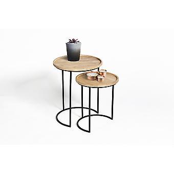 LIFA LIVING Runde Vintage Couchtische im 2er Set, 2 Kaffeetische aus Metall und Holz in Halbmond Optik, stabile Beistelltische, 15 kg Belastbarkeit