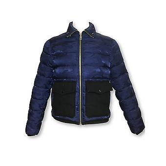 Just Cavalli puffer jacket in blue camouflage