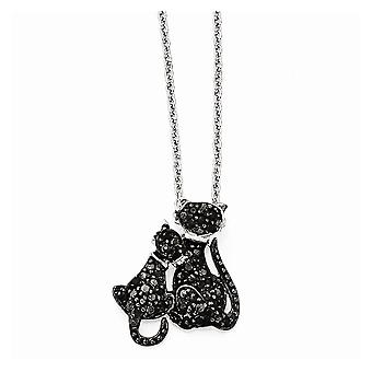 925 Sterling Silver Spring Ring Black rhodium Rhodium-plated Cubic Zirconia and Rhodium Cats 18 Inch Necklace - 18 Inch