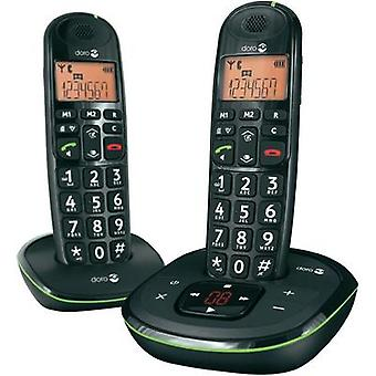 Cordless Big Button doro Doro PhoneEasy 105wr Duo schwarz Visual call notification, Answerphone Backlit Black