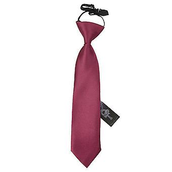 Boy's Plain Burgundy Satin Pre-Tied Tie (2-7 years)