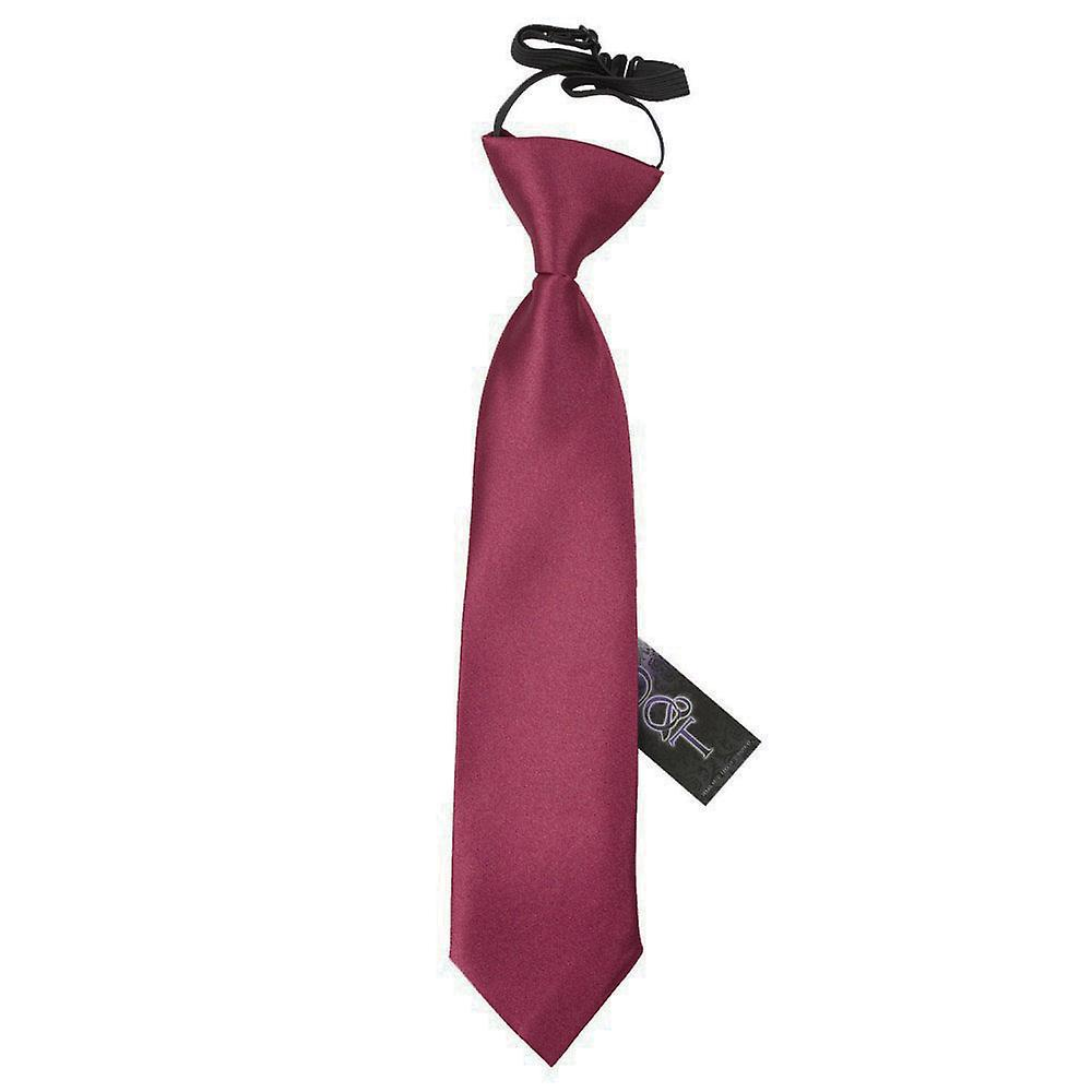 Boy's Burgundy Plain Satin Pre-Tied Tie (2-7 years)