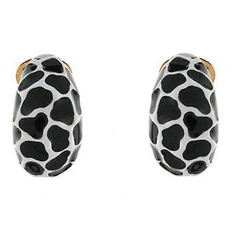 Kenneth Jay Lane White and Black Enamel Dalmatian Semi Hoop Clip On Earrings