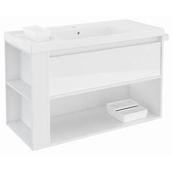 Bath+ 1 Drawer Cabinet + Shelf With Resin Basin Gloss White-White 100