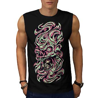 Fantasy Metal Death Skull Men Black Sleeveless T-shirt | Wellcoda