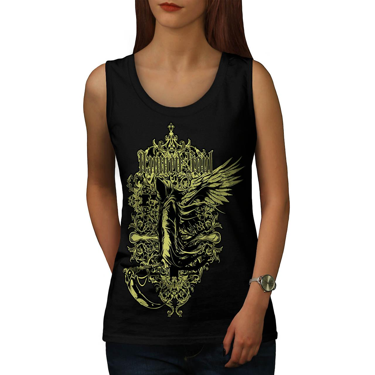 Anima dannata morte ascia Hell Angel donne Tank Top nero | Wellcoda