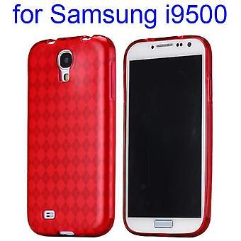 Bedek met pleinen, TPU rubber, voor Samsung Galaxy S4 i9500 (rood)