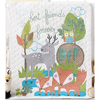 BFF Crib Cover Stamped Cross Stitch Kit-34