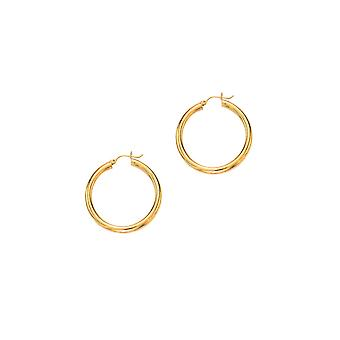14k Yellow Gold 4 mm Large Tubular Hoop Earrings - 4.1 Grams