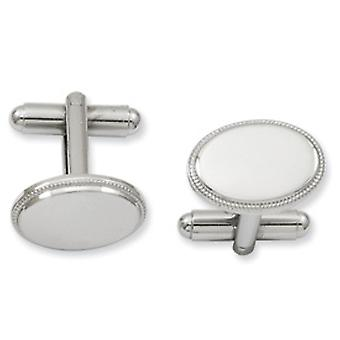 Rhodium-plated Oval Beaded Cuff Links