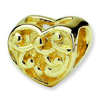 14k Yellow Gold Reflections SimStars Scroll Heart Bead Charm