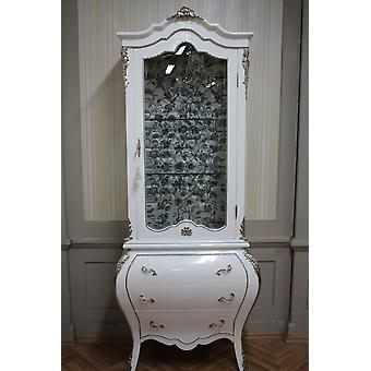 baroque vitrina glass cabinet  shiny white brass silver fabric flowers silver
