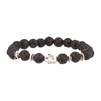 FUNKYPEARLS fashion jewelry stone Beads Bracelet 20 cm black matte with silver Buddha