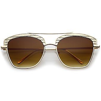Women's Crossbar Slim Arms Textured Metal Flat Lens Square Sunglasses 58mm