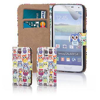 Fun book wallet case cover for Samsung Galaxy S5 G900 - Multi Owl