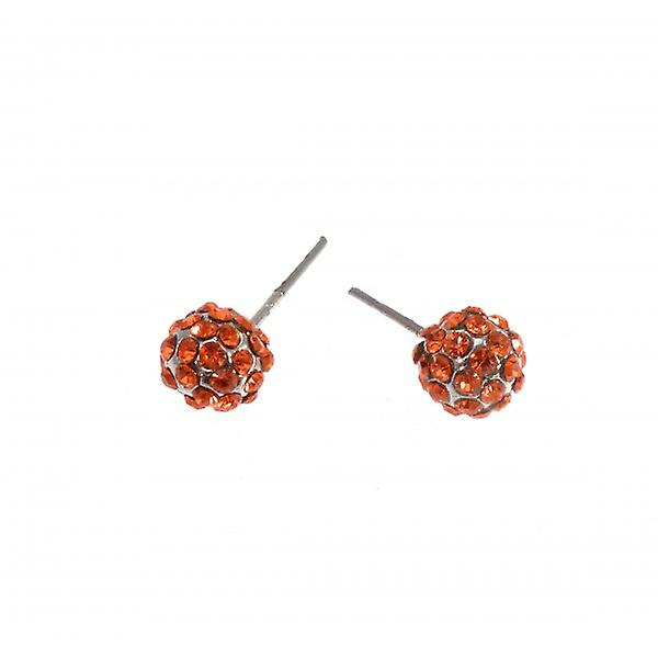 W.A.T Sparkling Orange Crystal Glitterball Fashion Earrings