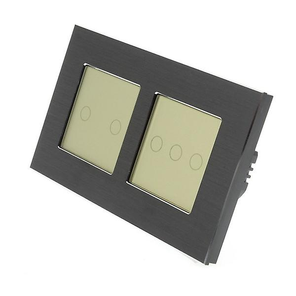 I LumoS noir Brushed Aluminium Double Frame 5 Gang 1 Way Touch LED lumière Switch or Insert