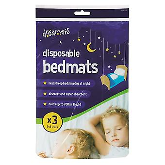 Dreamers Pack Of 3 Children's Toddlers Night Disposable Protector Bed Mats