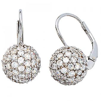 Boutons 925 /-s Silver earrings with cubic zirconia all round ball silver silver balls