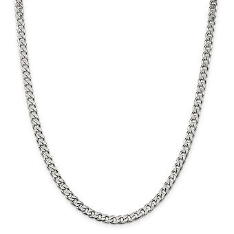 925 Sterling Silver Solid Fancy Lobster Closure Polished 4.6mm Curb Chain - Length: 18 to 24