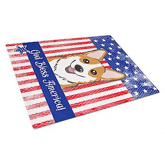 God Bless American Flag with Red Corgi Glass Cutting Board Large