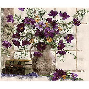 Blooming Cosmos Counted Cross Stitch Kit 12 1 2